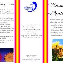 Image of Women's Ministry, 2011 - Brochure published by the Wesleyan Community Church, located at 8844 S. Austin Avenue.  The pamphlet provides information on organizations and activities within the church that might be of interest to the women of the congregation.
