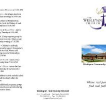 Image of Wesleyan Community Church Brochure, 2011 - Brochure published by the Wesleyan Community Church, located at 8844 S. Austin Avenue.  The pamphlet provides basic information on the Wesleyan Church, both locally and nationally.