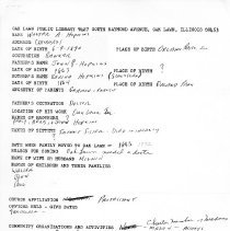 Image of Walter A. Hopkins Questionnaire - Questionnaire completed by Walter A. Hopkins at the request of the Local History Department of the Oak Lawn Public Library.