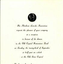 Image of Abraham Lincoln Association Reception Invitation, September 23, 1970 - Invitation to Alice B. Ihrig to attend the Abraham Lincoln Association's Old Capitol Restoration Fund reception on September 23, 1970.