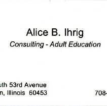 Image of Alice B. Ihrig Business Card - Business card for Alice B. Ihrig, Consultant - Adult Education