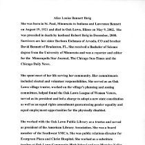 Image of Alice Louise Bennett Ihrig Biography - Biographical sketch of Alice B. Ihrig.