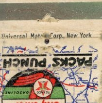 Image of Ed's Texaco Service Station Matchbook - This item is a matchbook from Ed's Texaco Service Station located near 105th Street and Crawford (Pulaski) Avenue in Oak Lawn. It is white in color and features several logos.