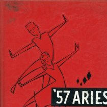Image of Aries, 1957 - This item is the 1957 yearbook from Reavis High School located in Burbank.  The cover is red in color and features an image of dancers.