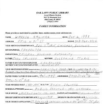 Image of Warren Salihar Questionnaire, 1998 - Questionnaire completed by Warren Salihar at the request of the Local History Department of the Oak Lawn Public Library.