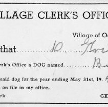 Image of Village of Oak Lawn Dog License, 1939 - Dog license issued to David Trimble by the Village of Oak Lawn for the year ending May 31, 1940.