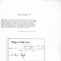 Image of Village of Oak Lawn Water Bill Receipt, 1937 - Receipt for a Village of Oak Lawn water bill paid by David Trimble in 1937. The property was located at 9805 South 54th Avenue.