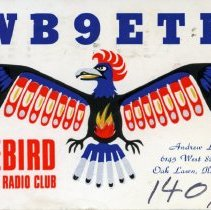 Image of Citizen's Band Radio Postcard  - This item is a postcard from Citizen's Band Radio user Andrew Landrum of Oak Lawn. The front has an image of a Firebird while the back contains handwritten information.