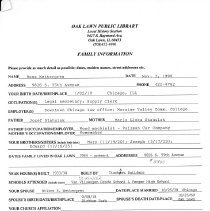 Image of Bess Wettergren Questionnaire - Questionnaire completed by Bess Wettergren at the request of the Local History Department of the Oak Lawn Public Library.