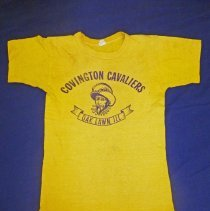 Image of Covington School T-Shirt - This item is a t-shirt from Covington School. It is yellow in color and features the image of a cavalier on the front.