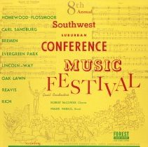 Image of 8th Annual Southwest Suburban Conference Music Festival - This item is a 33 1/3 RPM record featuring tracks from the 8th Annual Southwest Suburban Conference Music Festival. It features musicians from a number of different communities including Oak Lawn. The cover is yellow in color and contains the drawing of an orchestra.