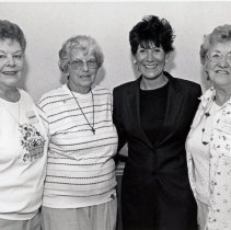 Image of Trinity Lutheran Women's Club Members with Maria Pappas - This is a photograph of l-r: Elaine Kardosh, President, Trinity Lutheran Women's Club; Hilda Rodriguez, Club Secretary; Maria Pappas, Cook County Treasurer; Mickey Von Asten, Club Treasurer.