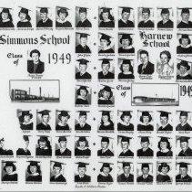 Image of Simmons and Harnew Schools, Class of 1949 - This is a photograph of Class of 1949 from the Simmons School and the Harnew School. Simmons School graduates are on the left, Harnew School graduates on the right. l-r the Simmons School graduates are Darlene Buchholz, Irene Cholewinski, Adrienne Crispe, Martin P. Conway, Virginia Dabrowski; Alfred Dunn, Kenneth Dunn, John Gilpin, (center Marie Knater, Principal), Herbert Gilson, David Gunther, Charles Harmstrom, Jr., Roberta Hart, Kenneth Henninger, missing picture/name, missing first name Joyce, Perry Keeps, Doris Marema, Ian McMillan, Raymond Mooi, Jr. , Richard Morfoot, Raymond Nygaard, Wanda Reynolds, Louis Schmude, Nelva Slager Barbara Snyder, Marily Walenta, Winona Weston, Steve Widlacki, Jr., Fred White. Harnew School graduates: l-r Donna Baaske, William Culver, Thomas Domaika, Richard Hebert, Norman Hewitt, Larry Hovey, Dorothy Jackson, Florence Jackson, Audrey Johnson, Virginia Johnson, Matthew Juris, Miriam Jurlow (center George Lieb, Superintendent, Gladys Baldwin, Principal), Bernadine Knobbe, leonard Larson, Loretta Lindish, Theresa Marcian, Patricial Meredith, Vivian Murphy, Anna Oberg, Ronald Pajkos, Kent Paser, Roberta Pheifer, Seth Piper, Donald Prorok, Robert Roche, Theresa Ryska, Gerald Stanton, Georgetta Stewart, Donna Taylor, Thomas Thomas, Ronald Tuttle, Barbara West, George Wilson, John Wisniewski.