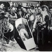 Image of Oak Lawn Round-Up Days  - This is a photograph of the results of a public hanging of 'Horse Thief Harry' during Round-Up Days in Oak Lawn. Held from 1949-1958, the Round-Up was a western themed celebration that included a parade, rides, and other events.