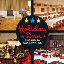 Image of Holiday Inn Postcard - This item is a postcard of the Oak Lawn Holiday Inn located at 4140 W. 95th St. It features four different images of the hotel's interior.