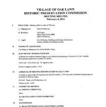 Image of Village of Oak Lawn Historic Preservation Commission Minutes, 2016 - Minutes of the Village of Oak Lawn Historic Preservation Commission for the year 2016.