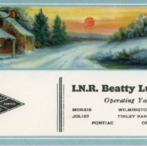 Image of I.N.R. Beatty Lumber Co. Advertising Card - This item is an advertising card from I.N.R. Beatty Lumber Company. The Oak Lawn branch was located at 9537 South 52nd Avenue. The lumber company closed its Oak Lawn location in 2010 and the structure was demolished in 2016.