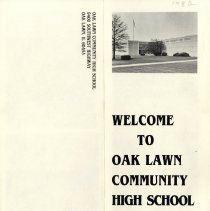 Image of Welcome to Oak Lawn Community High School, 1982 - An illustrated brochure promoting the benefits of attending Oak Lawn Community High School.