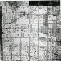 Image of 1886 Map of Worth Township - This item is an 1886 map of Worth Township pulled from Snyder's Maps of Cook County.  It displays property owned by a number of different individuals including James Chamberlain, William Harnew, Charles Simpson, Fred Behrend, and others.  Oak Lawn is located near the top left corner.