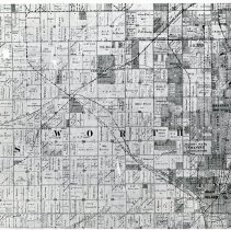 Image of 1898 Map of Worth Township - This item is an 1898 map of Worth Township.  It displays property owned by a number of different individuals including William Harnew, Charles Simpson, W.G. Fargo, and others.  Oak Lawn is located just above the center.