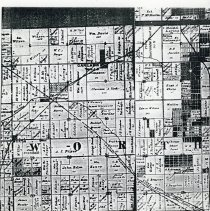 Image of 1890 Map of Worth Township - This item is an 1890 map of Worth Township pulled from Snyder's Maps of Cook County.  It displays property owned by a number of different individuals including William Harnew, Charles Simpson, John Sproat, and others.  Oak Lawn is located just above the center.