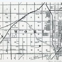 Image of 1882 Map of Worth Township - This item is an 1882 map of Worth Township produced by Rand McNally.  It displays a general overview of the township and shows different communities as well as railroad stations.  Oak Lawn is located just above the center.