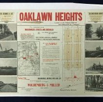 Image of 1892 Map of Oak Lawn Heights  - This item is a map and promotional poster for Oak Lawn Heights, a proposed subdivision located between 92nd Street and 95th Street in Oak Lawn. It features images of the train depot, Trinity Lutheran Church, First Congregational Church, the Keyhole House, and other locations. The poster also mentions the upcoming 1893 Columbian Exposition in Jackson Park.