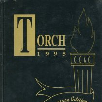 Image of Torch, 1995 - This item is a South Side Baptist School yearbook from 1995. The cover is black and gold in color and features an image of a lit torch.
