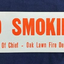 Image of Oak Lawn Fire Department No Smoking Sign