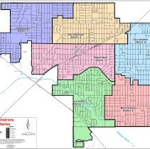 Image of 2015 Oak Lawn Village Trustee District Map  - This item is a political map of Oak Lawn updated in 2015. Community Development and Growth Management prepared the map which details the various Village Districts and Worth Township Districts. The trustees at the time were Tim Desmond, Alex Olejniczak, Bob Streit, Terry Vorderer, Mike Carberry, and Bud Stalker.