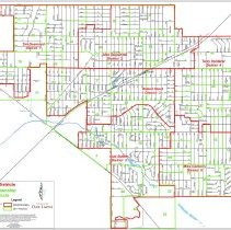 Image of 2015 Oak Lawn Village Trustee District Map - This item is a political map of Oak Lawn updated in 2015. Community Development and Growth Management prepared the map which details the various Village Districts and 2011 Worth Township Districts. The trustees at the time were Tim Desmond, Alex Olejniczak, Bob Streit, Terry Vorderer, Mike Carberry, and Bud Stalker.