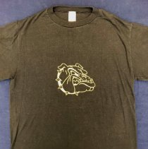 """Image of Harold L. Richards High School T-Shirt - This item is a t-shirt from Harold L. Richards High School. The shirt is black in color and features the image of a bulldog on the front. The back contains the phrase """"Pain is Temporary, Pride is Forever! Football 1990""""."""
