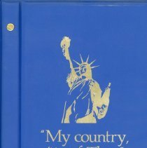"""Image of """"My country, 'tis of Thee""""  - This item is a book of selected readings and illustrations from American history including the Emancipation Proclamation, Declaration of Independence and many others. The book was given to the Oak Lawn Public Library from the Johnson-Phelps V.F.W. Women's Auxiliary Post 5220. Its cover features an image of the Statue of Liberty."""