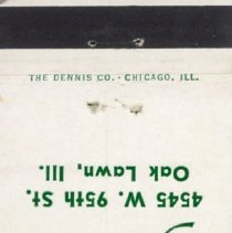 Image of Jack Kilty's Restaurant Matchbook - This item is a matchbook for Jack Kilty's Restaurant located at 4545 West 95th Street in Oak Lawn. The cover is green and white in color while the inside is blank.