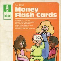 Image of Ideal School Supply Money Flash Cards  - This item is a box of money flash cards produced by the Ideal School Supply Company located at 11000 LaVernge in Oak Lawn. It contains a number of white cards featuring a coin and corresponding value.