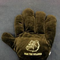 """Image of Harold L. Richards High School Plush Glove - This item is a plush glove used by students at Harold L. Richards High School in Oak Lawn. It is black in color with the image of a bulldog on one side and the phrase """"Go Bulldogs"""" on the other."""