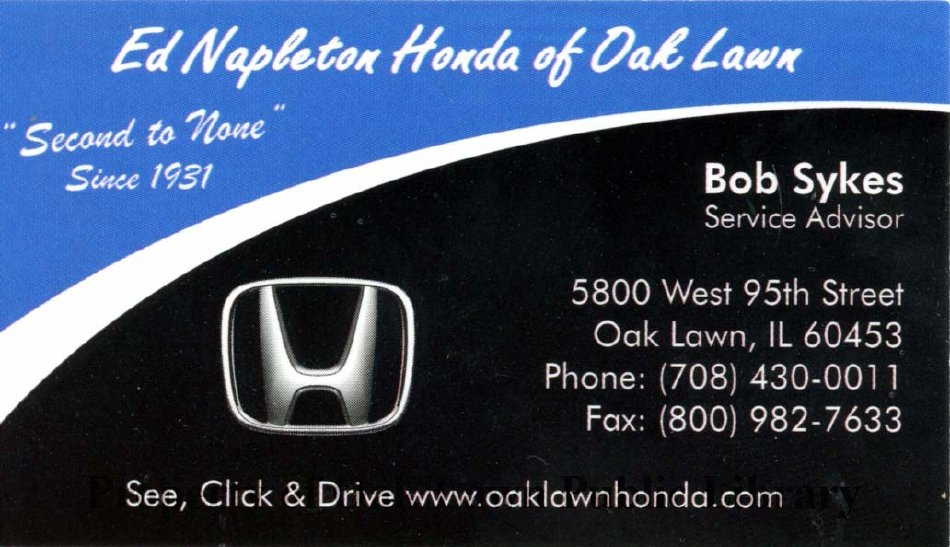 Ed Napleton Honda >> Ed Napleton Honda Of Oak Lawn Business Card 2011 Business Card