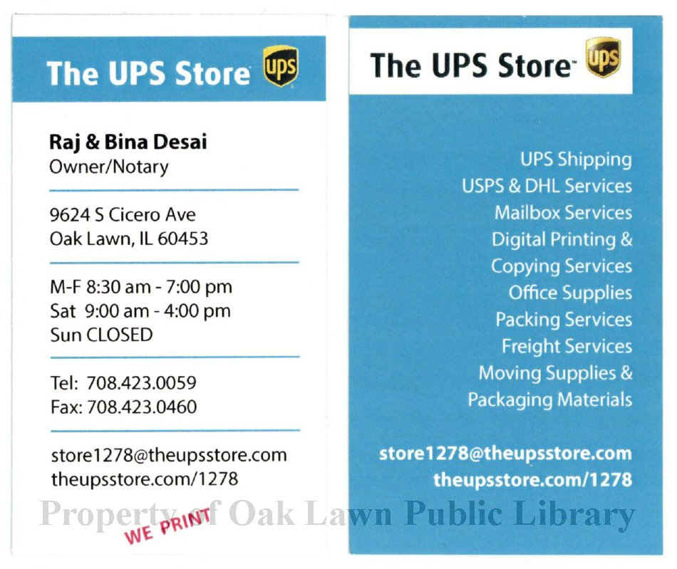 Ups Store Business Card 2016 Business Card For The Ups Store