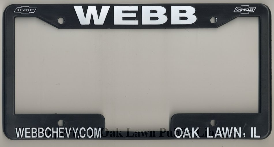 Webb Chevy License Plate Cover This Item Is An License Plate Cover
