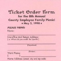 Image of Ticket Order Form