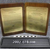 Image of 2002.078.0010 - Plaque