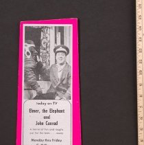 Image of AR_00123 - WNBQ-TV Ad for Elmer the Elephant w/John Conrad