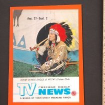 Image of AR_00190 - TV News - w/Chief White Eagle of WTTW's Totem Club [Aug 1961]