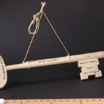 Image of AR_00045 - Large, white wooden key to the city presented to Don McNeill, Harrisburg PA