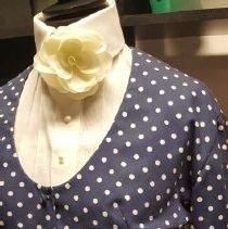 Image of EX_12.20 - 2 piece navy blue/white Polka Dot Dress