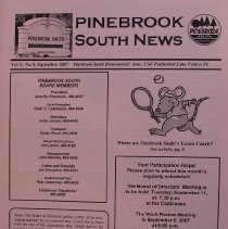 Image of Pinebrook South News - Monthly newsletter of Pinebrook South Homeowners' Association, Vol. 9, no. 8, Sept, 2007