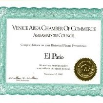 Image of 2008.10.0007 El Patio certific