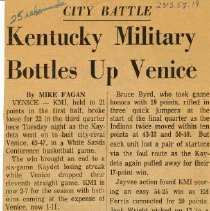 Image of Kentucky Military Bottles Up Venice - Undated newspaper story about Kentucky Military Institute (KMI) basketball, including reference to Marty McGowan, ca 1964.