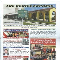 Image of The Venice Express - The Venice Express, Quarterly newsletter of the Venice Area Historical Society.  January 2014- Winter Edition
