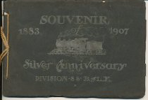 """Image of Souvenir of Silver Anniversary Division 88, B.of L.E. 1883-1907 - Booklet entitled Souvenir of Silver Anniversary Division 88, B. of L.E. 1883-1907. Booklet size 7 1/2"""" x 5 1/2"""", black cover, tied together with cord. Story of """"The Overland Limited"""" with resumes of various individuals associated with the railroad. Includes The Work of Division 88, The Pioneer Engineers  B of L.E.= Brotherhood of Locomotive Engineers"""